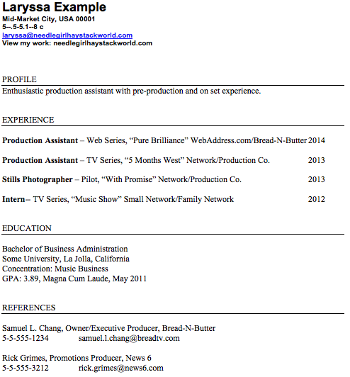 Production Assistant Resume Example  Production Resume Examples